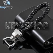 Плетеный кожаный (черный) брелок для авто ключей Jaguar (Ягуар) с карабином