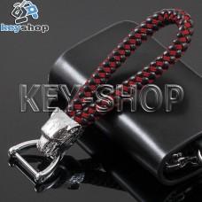 Плетеный кожаный (красно - черный) брелок для авто ключей Jaguar (Ягуар) с карабином