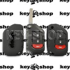 Чехол силиконовый для выкидного ключа Jeep Wrangler, Gladiator (Джип Вранглер, Гладиатор)  2 + 1 кнопки (черный)