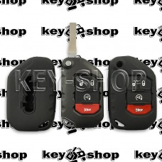 Чехол силиконовый для выкидного ключа Jeep Wrangler, Gladiator (Джип Вранглер, Гладиатор)  3 + 1 кнопки (черный)