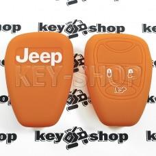 Чехол (оранжевый, силиконовый) для авто ключа Jeep (Джип) 3 кнопки