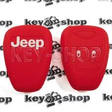 Чехол (красный, силиконовый) для авто ключа Jeep (Джип) 2 кнопки
