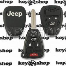 Чехол (черный, силиконовый) для авто ключа Jeep (Джип) 3 + 1 кнопки