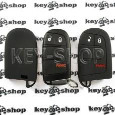 Чехол (черный, силиконовый) для смарт ключа Jeep, Dodge, Chrysler (Джип, Додж, Крайслер) 2 кнопки + 1