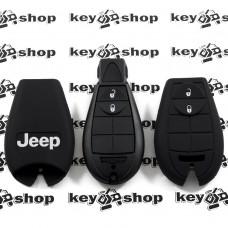 Чехол (черный, силиконовый) для смарт ключа Jeep (Джип) 2 кнопки