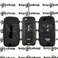 Чехол (черный, силиконовый) для выкидного ключа Jeep (Джип) 3 кнопки