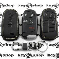 Чехол (кожаный) для смарт ключа Jeep (Джип) 4+1 кнопка (panic)