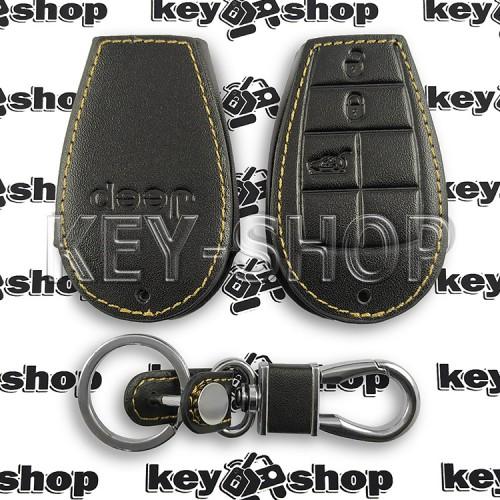 Чехол смарт ключа Jeep (Джип) 3 кнопки (кожаный)