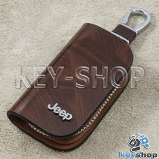 Ключница карманная (кожаная, коричневая, с узором, на молнии, с карабином, с кольцом), логотип авто Jeep (Джип)