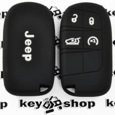 Чехол (черный, силиконовый) для смарт ключа Jeep (Джип) 4 кнопки