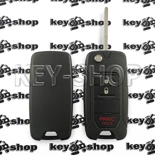Выкидной ключ для Jeep (Джип) 2 + 1 кнопка (panic), лезвие SIP 22, чип 4A (AES), 433 MHz