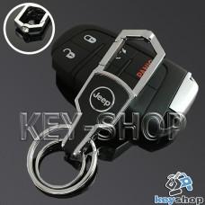 Металлический брелок для авто ключей Джип (Jeep) с карабином и кожаной вставкой