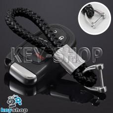Кожаный плетеный брелок для авто ключей Джип (Jeep)