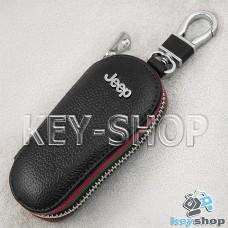 Ключница карманная (кожаная, черная, на молнии, с карабином, с кольцом), логотип авто Jeep (Джип)