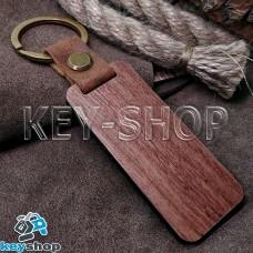 Брелок для лазерной гравировки (деревянный), коричневый, с кольцом, 65х28мм