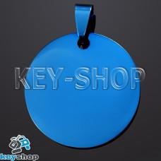 Жетон для лазерной гравировки (металл) Круглый, синий, 30х30мм