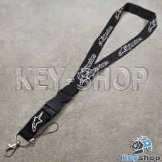 Шнурок на шею (черный) для ключей с карабином и логотипом Alpinestars (Альпинстарс)