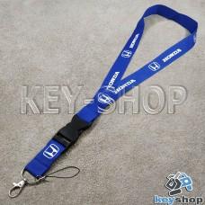 Шнурок на шею (синий) для ключей с карабином и логотипом Honda (Хонда)