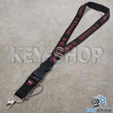 Шнурок на шею (черный) для ключей с карабином и логотипом Kawasaki (Кавасаки)