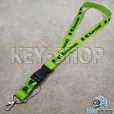 Шнурок на шею (зеленый) для ключей с карабином и логотипом Kawasaki (Кавасаки)