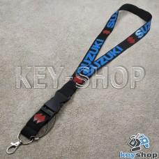 Шнурок на шею (черный) для ключей с карабином и логотипом Suzuki (Сузуки)