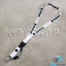 Шнурок на шею (белый) для ключей с карабином и логотипом Suzuki (Сузуки)