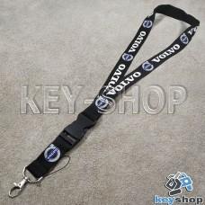 Шнурок на шею (черный) для ключей с карабином и логотипом Volvo (Вольво)