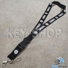 Шнурок на шею (черный) для ключей с карабином и логотипом Yamaha (Ямаха)