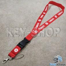 Шнурок на шею (красный) для ключей с карабином и логотипом Yamaha (Ямаха)