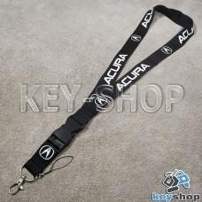 Шнурок на шею (черный) для ключей с карабином и логотипом Acura (Акура)