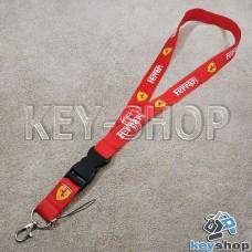 Шнурок на шею (красный) для ключей с карабином и логотипом Ferrari (Феррари)