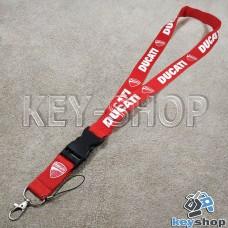 Шнурок на шею (красный) для ключей с карабином и логотипом Ducati (Дукати)