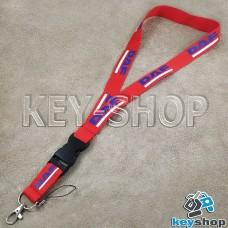 Шнурок на шею (красный) для ключей с карабином и логотипом DAF (ДАФ)