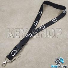 Шнурок на шею (черный) для ключей с карабином и логотипом MAN (МАН)