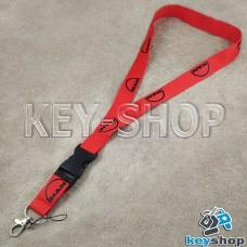 Шнурок на шею (красный) для ключей с карабином и логотипом MAN (МАН)