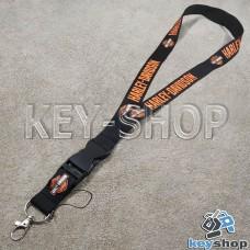 Шнурок на шею (черный) для ключей с карабином и логотипом Harley Davidson (Харли Дэвидсон)