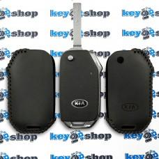 Чехол на ключ KIA (КИА), натуральная кожа, черный, (ручная работа)
