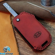 Чехол на ключ KIA (КИА), натуральная кожа, красный, (ручная работа)