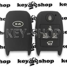Чехол (силиконовый) для смарт ключа KIA (КИА) 5 кнопок (черный)
