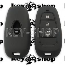 Чехол силиконовый для смарт ключа KIA (КИА) 3 кнопки (черный)