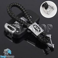 Кожаный плетеный (черный) брелок для авто ключей KIA (КИА)