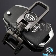 Брелок для ключа KIA (КИА), (темный хром), с карабином