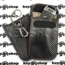 Чехол Фарадея, антисканер, противоугонный чехол (кожаный, под карбон, черный, на липучке, с карабином, с кольцом)