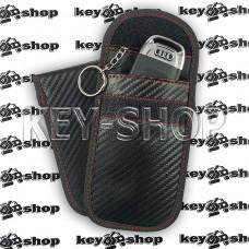 Чехол Фарадея, антисканер, противоугонный чехол (кожаный, под карбон, черный, на липучке, с кольцом, два отдела)
