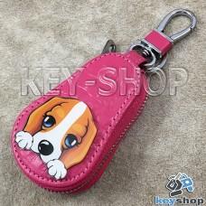 Эксклюзивная ключница карманная (кожаная, розовая, на молнии, с карабином, с кольцом)