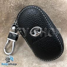 Ключница карманная (кожаная, черная, на молнии, с карабином, с кольцом), логотип авто Great Wall (Грейт Вол)
