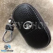 Ключница карманная (кожаная, коричневая, на молнии, с карабином, с кольцом), логотип авто Great Wall (Грейт Вол)