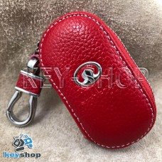 Ключница карманная (кожаная, красная, на молнии, с карабином, с кольцом), логотип авто Great Wall (Грейт Вол)