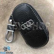 Ключница карманная (кожаная, черная, на молнии, с карабином, с кольцом), логотип авто Audi (Ауди)