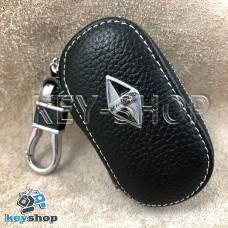 Ключница карманная (кожаная, черная, на молнии, с карабином, с кольцом), логотип авто Borgward (Боргвард)